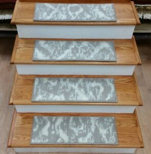 """Grey Abstract Wool Stair Tread Set of 7 Non Slip Carpet Treads 25""""x9"""" Rug Depot"""