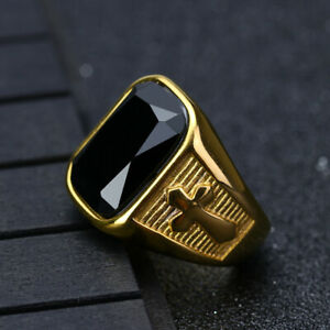 Stainless Steel Signet Rings Black Agate Wedding Ring for Men Gold Cross Rings