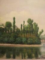 Ecole FRANCAISE XIX PEINTURE PAYSAGE ILE de la SAONE LYON RHONE LYONNAIS 1870