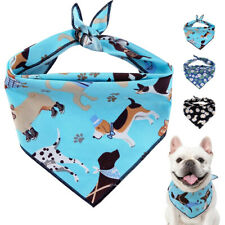 Cute Dog Cat Bandana Collars Floral Scarf Neckerchief for Small Large Dogs Blue