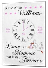 Moment in Time New Baby Personalised Metal Plaque Christening Gift Boy Girl