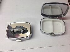 Austin A35 2 Door Saloon ref7  pewter effect car emblem on silver metal pill box