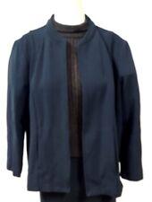 Elisabeth Petite Size 1 Black Jacket Open Front Ribbed 2 Side Pockets