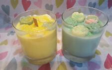 Two Handmade Scented Candles Glass Jars Homemade Decorated with Glitter Flowers