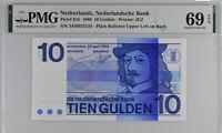 NETHERLANDS 10 GULDEN 1968 P 91 b SUPERB GEM UNC PMG 69 EPQ NEW LABEL
