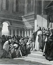 Antique print ,steel engraving ,Jesus,Jezus,at the synagogue in Capernaum 1864