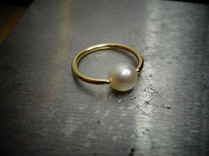 Captive Bead Big FW Pearl Navel Belly Nose Septum Ring Hoop 14k Gold Filled 12ga