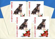 SCHNAUZER PACK OF 4 DELIGHTFUL CARDS DOG PRINT GREETING CHRISTMAS CARDS