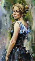 Handpainted huge Oil painting portraits young girl in dress looking back canvas