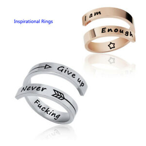 Women/Mens Inspirational Engrave Ring Never Fucking Give Up Personality Gifts