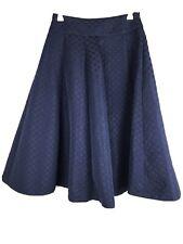 Review Size 6 Skirt Dark Navy Blue Polka Pot Fit & Flare Box Pleat