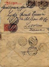 REGNO-Striscia tre 40 cent(84)+70 cent Espresso(11)Busta Fiume 21.9.1926
