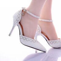 New Bride Wedding Shoes High Heels Rhinestones Womens White Pearl Strap Shoes SZ