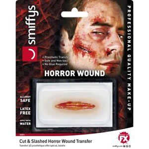 Halloween Horror Wound Transfer Cut & Slashed Wound Halloween Fancy Dress
