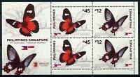 Philippines 2019 MNH Butterflies JIS Singapore Singpex OVPT 4v M/S Stamps