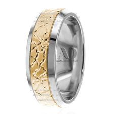 14K White & Yellow Gold Crack Pattern Beveled Edge 6.5mm Wedding Band Ring