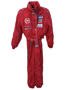 Phenix Red Ski Suit Pants Overall Bibs Jacket Size S With Logo Emblems Patches