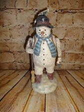 "Department 56 WOODLAND SNOWMAN 10"" Figurine Broom Basket Glitter RARE"