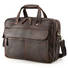 "Vintage Men Leather Briefcase 15"" Laptop Attache Shoulder Bag Satchel Handbag"