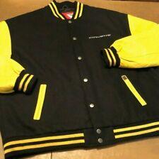GM Chevrolet Corvette Leather / Wool Bomber Varsity Driving Jacket Coat 3XL 4XL