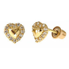Little Heart Earrings For Baby & Toddler With Screw Backs In 14K Yellow Gold