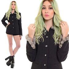 Vintage Grey Wool SAPPHIRE MINK Fur Trim Collar Blazer Minimalist Jacket Coat S