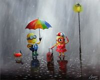 100%Hand-painted Art Oil Painting Landscape Cartoon Minions 16*20inch Signed