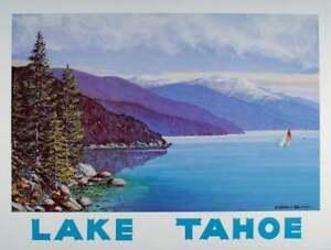 Vintage LAKE TAHOE California TRAVEL POSTER Nevada SAILBOAT Harold Hancock PRINT