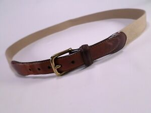 LL Bean Surcingle Belt 44 Leather Wool Brass Buckle Made in USA OUS11