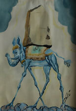 Rare find Surrealism oil painting, Elephant, Marked, signed, Salvador Dali