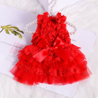 Small Pet Dog Wedding Dress Lace Cat Puppy Skirt Princess Apparel Yorkie Poodle