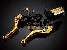 Gold Universal Brake Clutch Levers Master Cylinder Brake Reservoir USA Suzuki