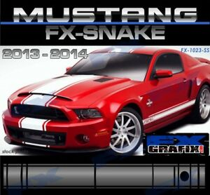 "2014 Ford Mustang 18"" Factory Style Super Snake Dealer Quality Stripes White"