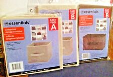 """3 Collapsible Storage Containers one A 9x9x8"""",  2 B 6.25 x 10.5x6.5"""" brown beige"""