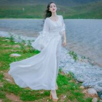 Lady Lolita Long Dress Fairy Princess Prom Gowns Gothic Medieval Retro Elegant