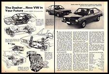 1974 Volkswagen VW Vintage PRINT AD Dasher Engine Automobile Car B&W 1970s
