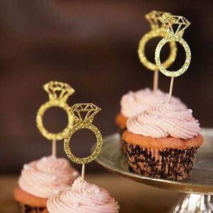 20pcs Party Favors Cake Decor Cupcake Toppers Glitter Diamond Ring Picks