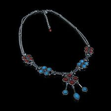 .925 Sterling Silver Natural Turquoise Red Coral Double Chain Linked Necklace