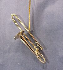 Gold Trombone Ornament Musical Instrument Collectible Holiday Home Decor