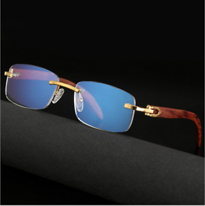 Rimless Wood Temple Anti Blue light Reading Presbyopic Glasses 0 to +4.00 reader