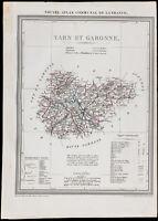 1839 - Carte géographique ancienne du Tarn-et-Garonne. Département. Gravure