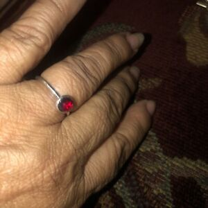 Pandora 925 ALE Women's Ring With A Red Ruby Size 6