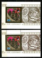 Comores APOLLO SOYOUZ space 1975 Gold Foil  Or  MICHEL BLOCS 9 A+B cote 100 euro