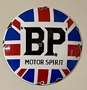OLD RARE VINTAGE BP MOTOR SPIRIT PORCELAIN SIGN GAS OIL BRITISH PETROLEUM  DOME