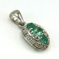 Smaragd Anhänger  Smaragd & Diamanten  925er Silber