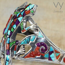 New Women 925 Silver lizard Cuff Bracelet Blue Opal Bangle gift coral Turquoise