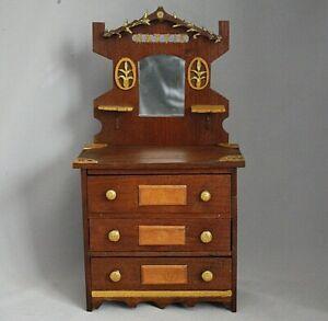 Primitive Antique Hand Made Miniature Wood Dresser Furniture Folk Art AAFA