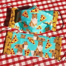 Adult Sable Collie Sheltie Aqua Pepperoni Pizza Bone Trim Face Mask 100% Rescue