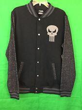 Marvel PUNISHER Skull Black And Gray Varsity Fleece Jacket NWT Gift Size S