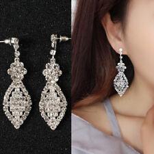 Bridal Silver Diamante Crystal Rhinestone Long Dangle Earrings Wedding Type